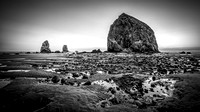 Haystack Rock Twighlight (16x9) B&W