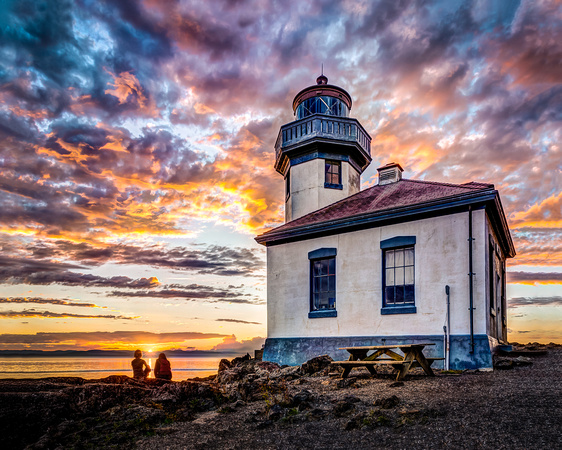 Last Light at Lime Kiln Lighthouse - Canvas Wrap